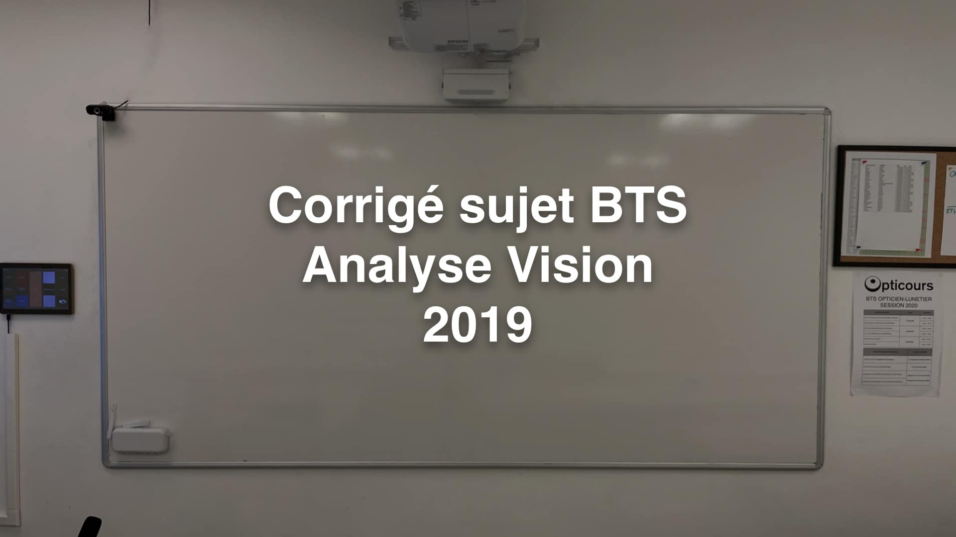Corrigé sujet BTS Analyse Vision 2019
