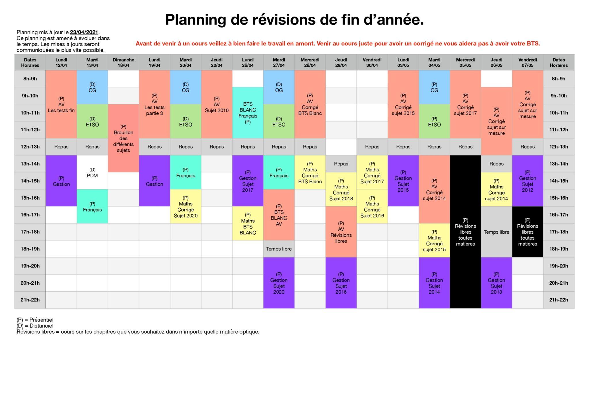Planning révisions TS2 2021-04-23